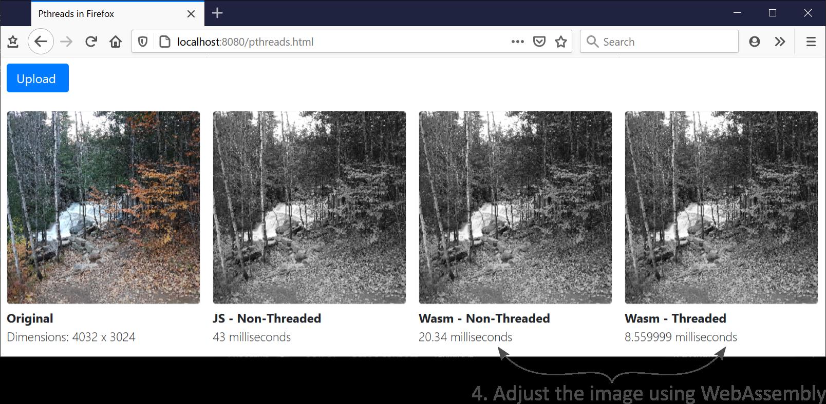Adjusting the image using WebAssembly