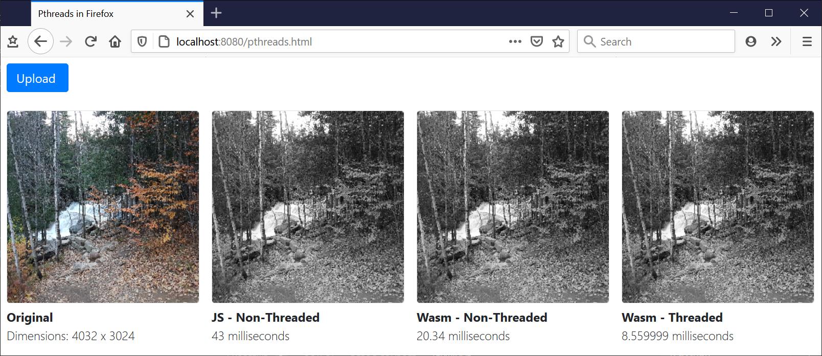 uploading image and measuring performance