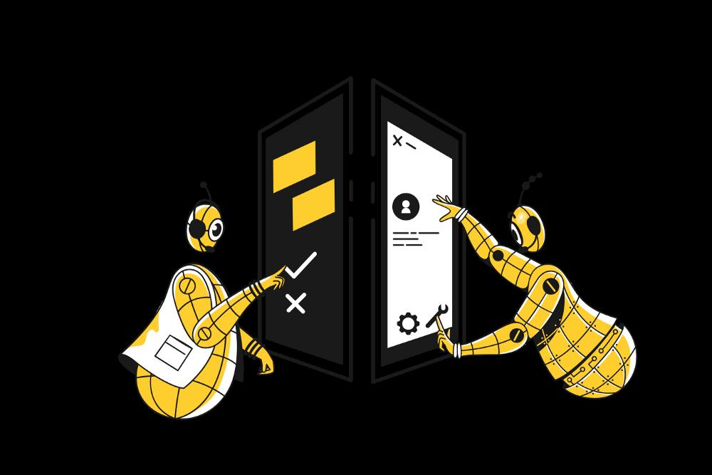 cartoon robots touching screen