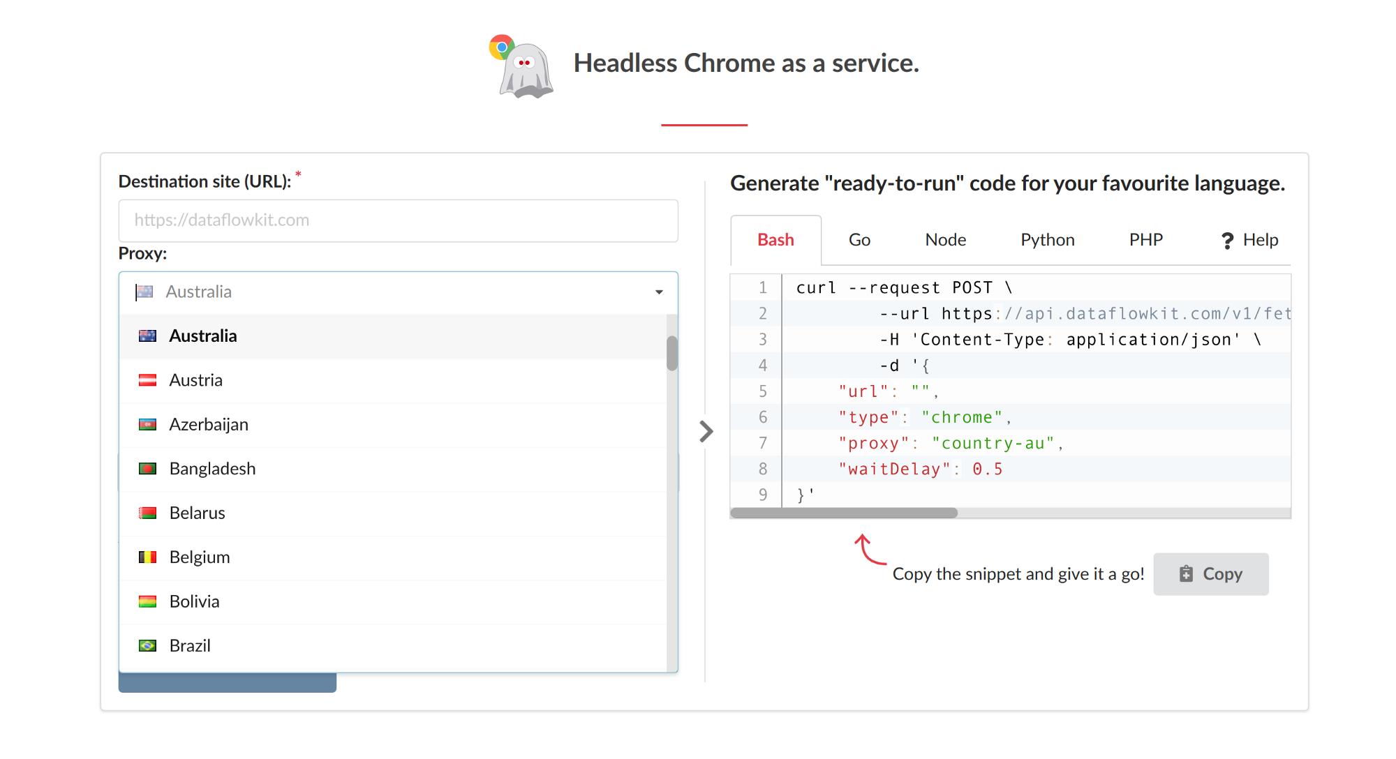 Headless Chrome as a service