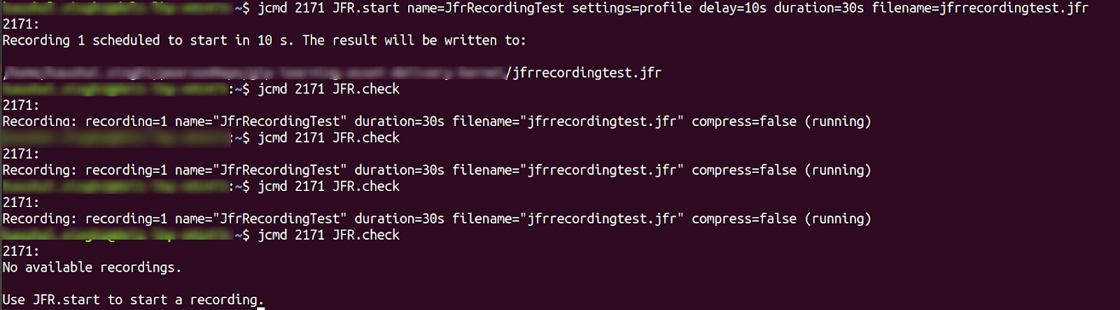 jcmd command - JFR.start sample usage