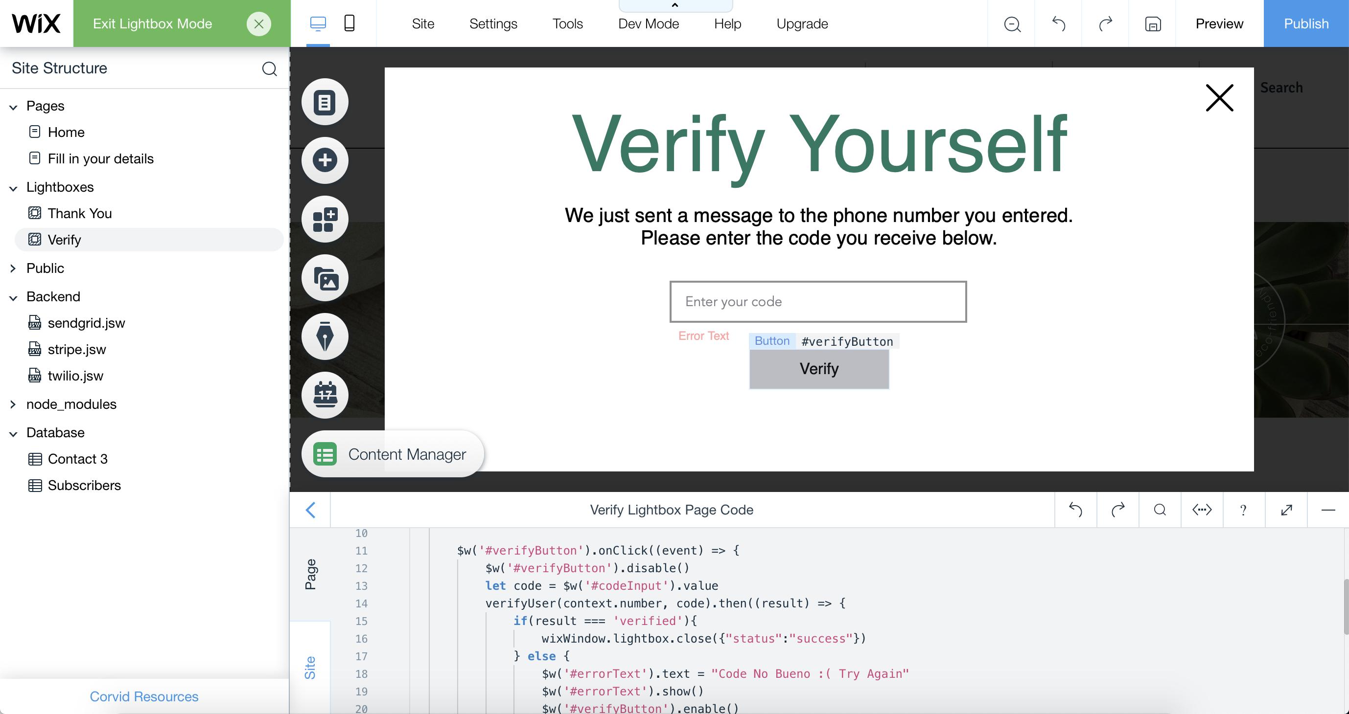 Verifying user with Twilio