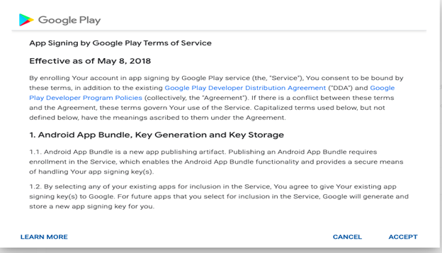 Accepting Google Play terms of service
