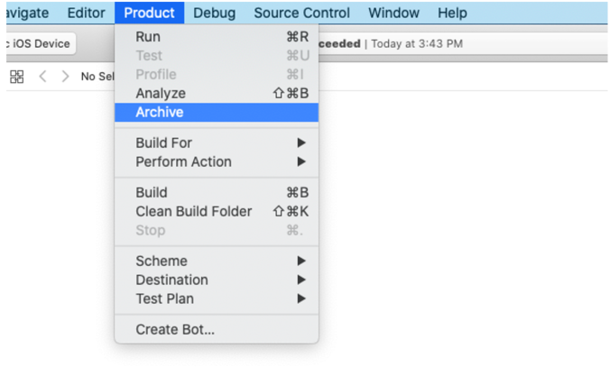 Selecting Archive in XCode