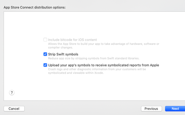 App Store Connection distribution options
