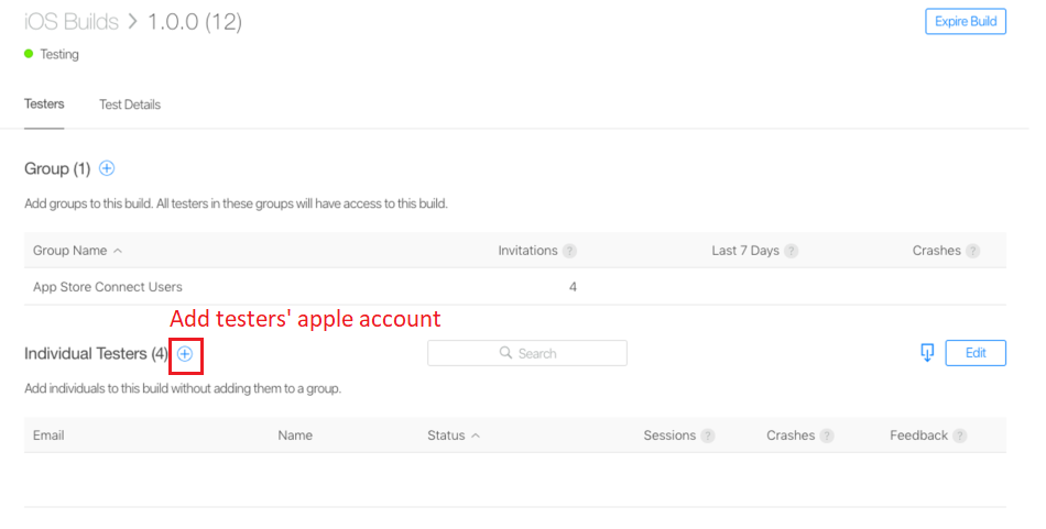 Adding tester's apple account