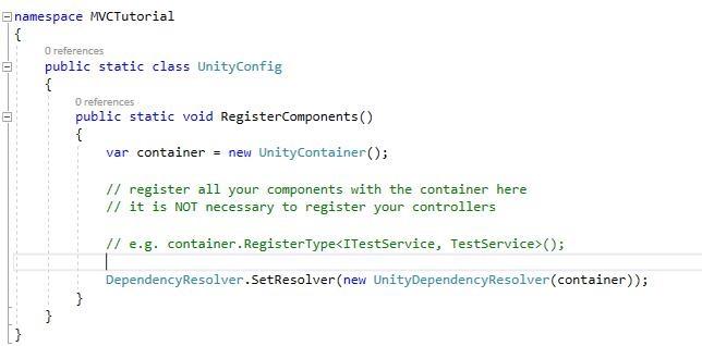 default unity configuration