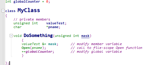 syntax highlighting in editor
