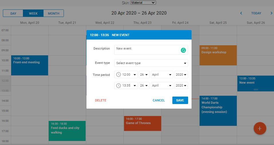 DHTMLX Event Calendar