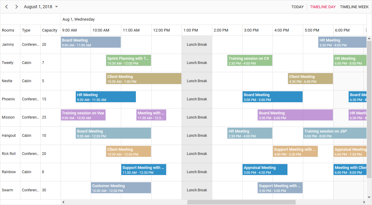 Syncfusion Scheduler
