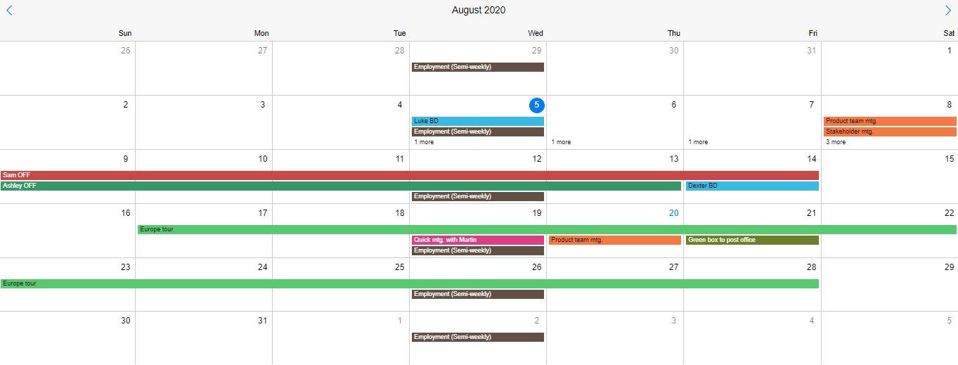 Mobiscroll Event Calendar