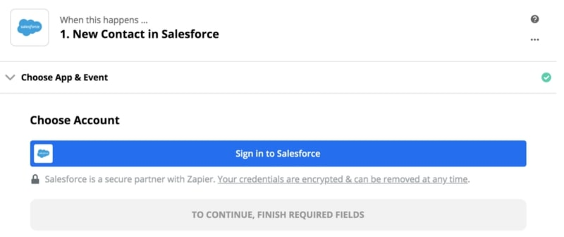 New contact in Salesforce