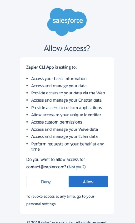 Allow access to Salesforce