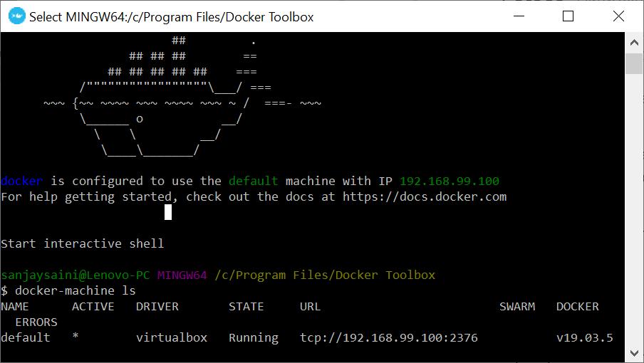 Docker running in terminal