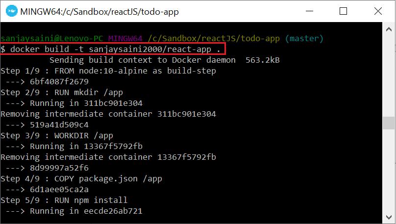 Running Docker build command