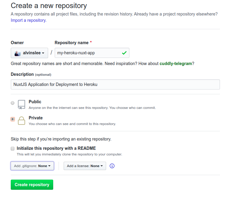 Creating a new repository