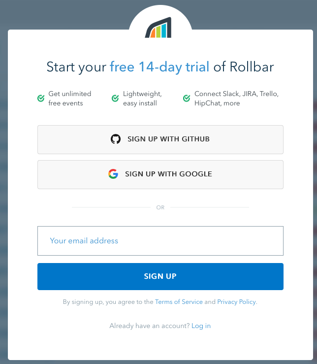 Rollbar 14 day free trial