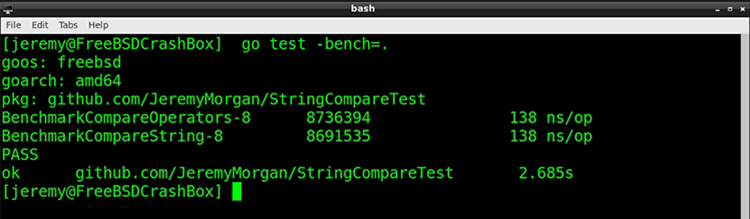Benchmarking in terminal