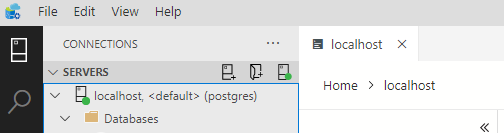 showing connection to Postgres server