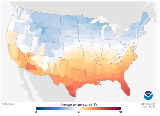 Average monthly temperature in the contiguous United States
