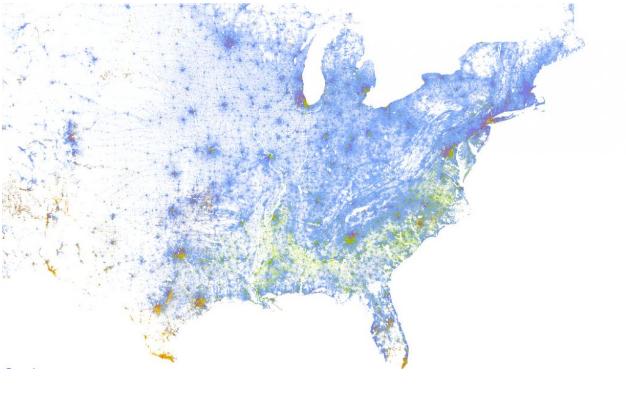 GIS map representing America's racial diversity