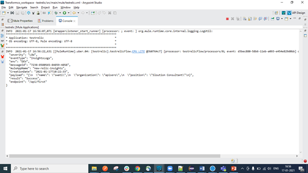 Console Log screenshot.