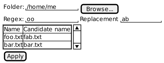 File Renamer application wireframe