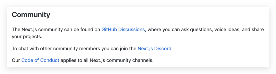 The Community section on the next.js repository homepage