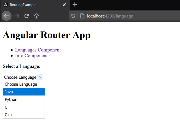 Angular Router App Select Language