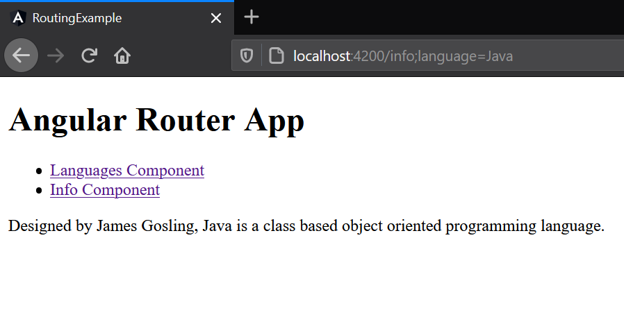 Angular Router App Languages and Info component