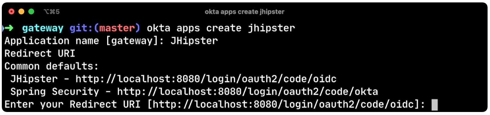 Okta apps create jhipster