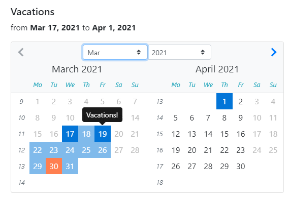 Datepicker component of NG Bootstrap library