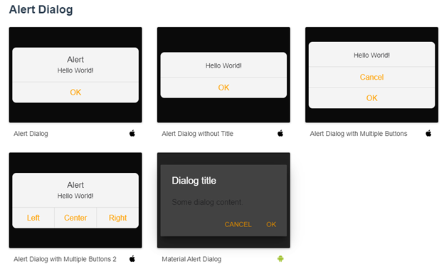 Alert dialog component of Onsen UI library