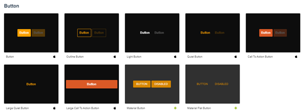Forms of Button component of Onsen UI library