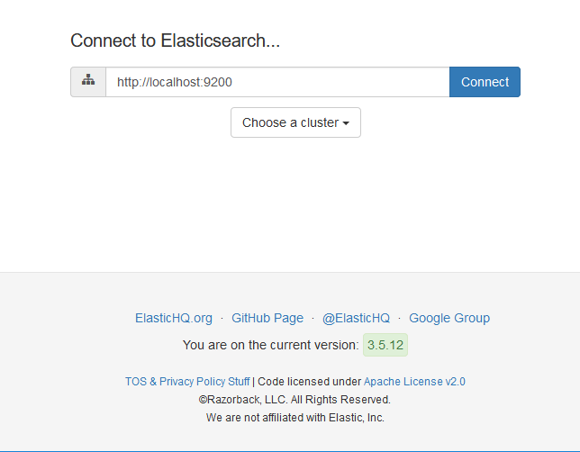 The Initial Screen of The ElasticHQ Tool