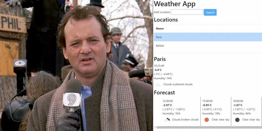 Bill Murray next to completed Weather App from tutorial
