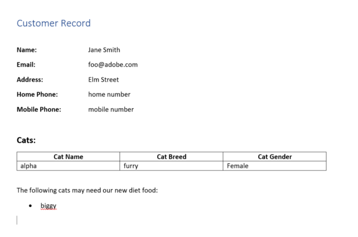 Customer Record for Jane Smith