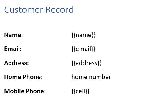 Customer Record Closeup