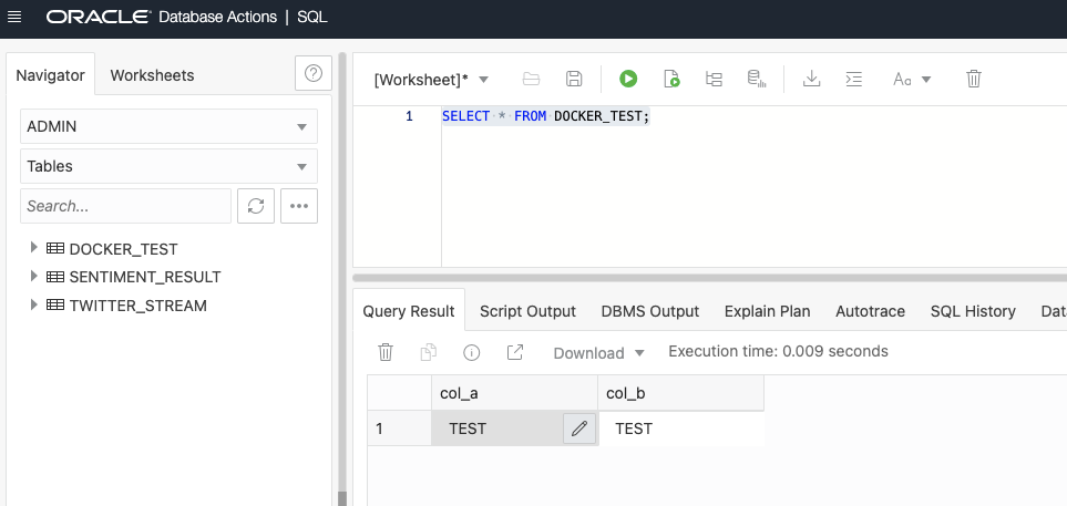 DOCKER_TEST in Oracle Database Actions