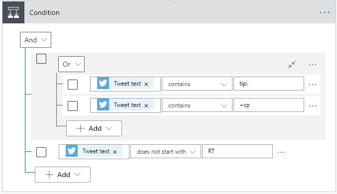 Filter Tweets Control Operation