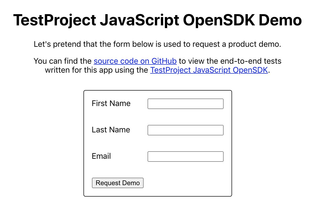 Demo app: request form
