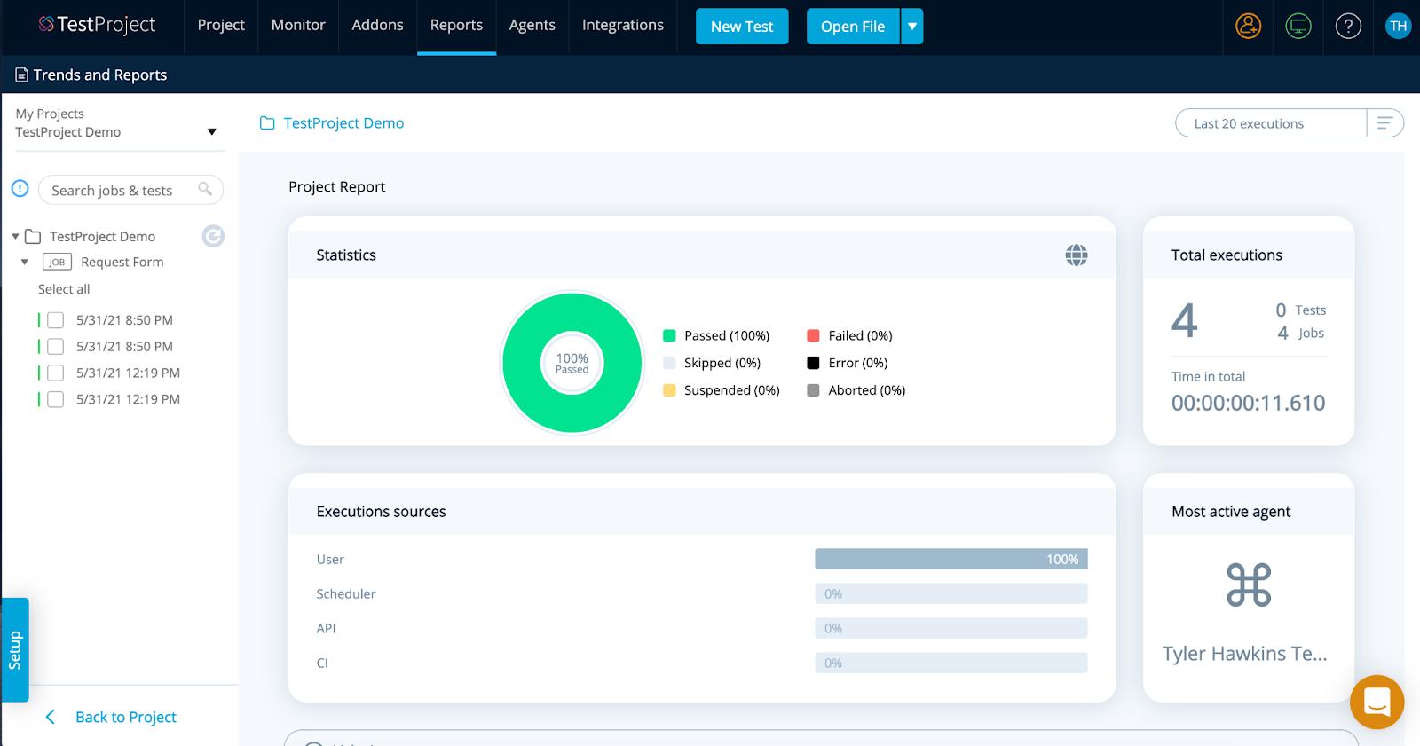 TestProject report dashboard