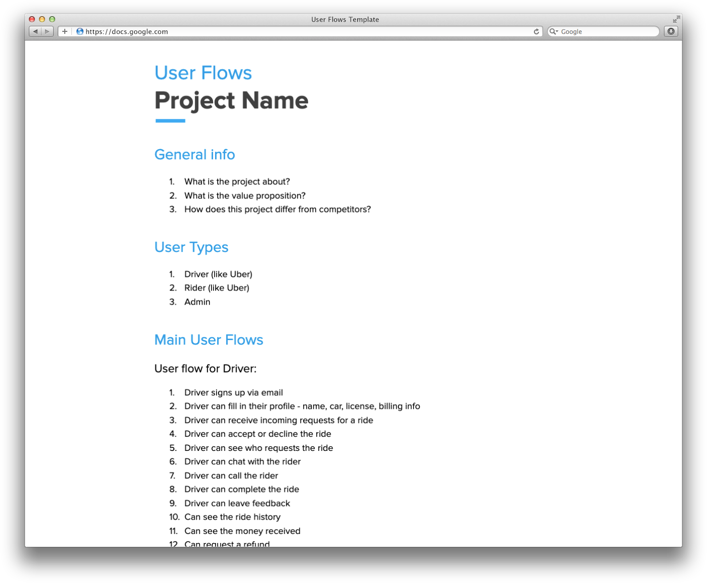 Example of the user flows overview