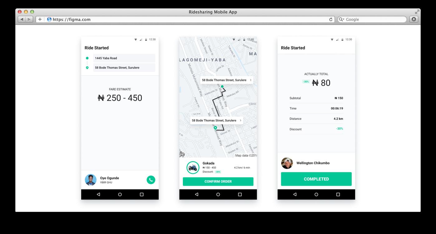 Sample screens of ridesharing app