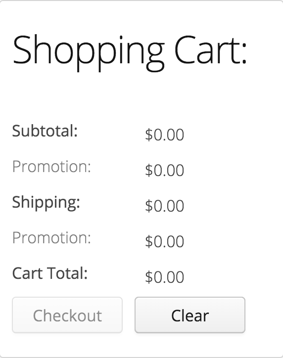 Shopping Cart View UI