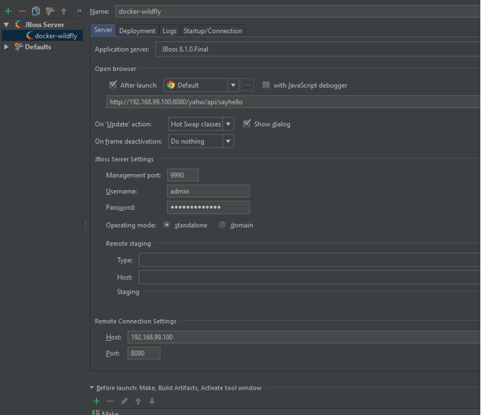 Deploy to WildFly and Docker From IntelliJ Using Management API