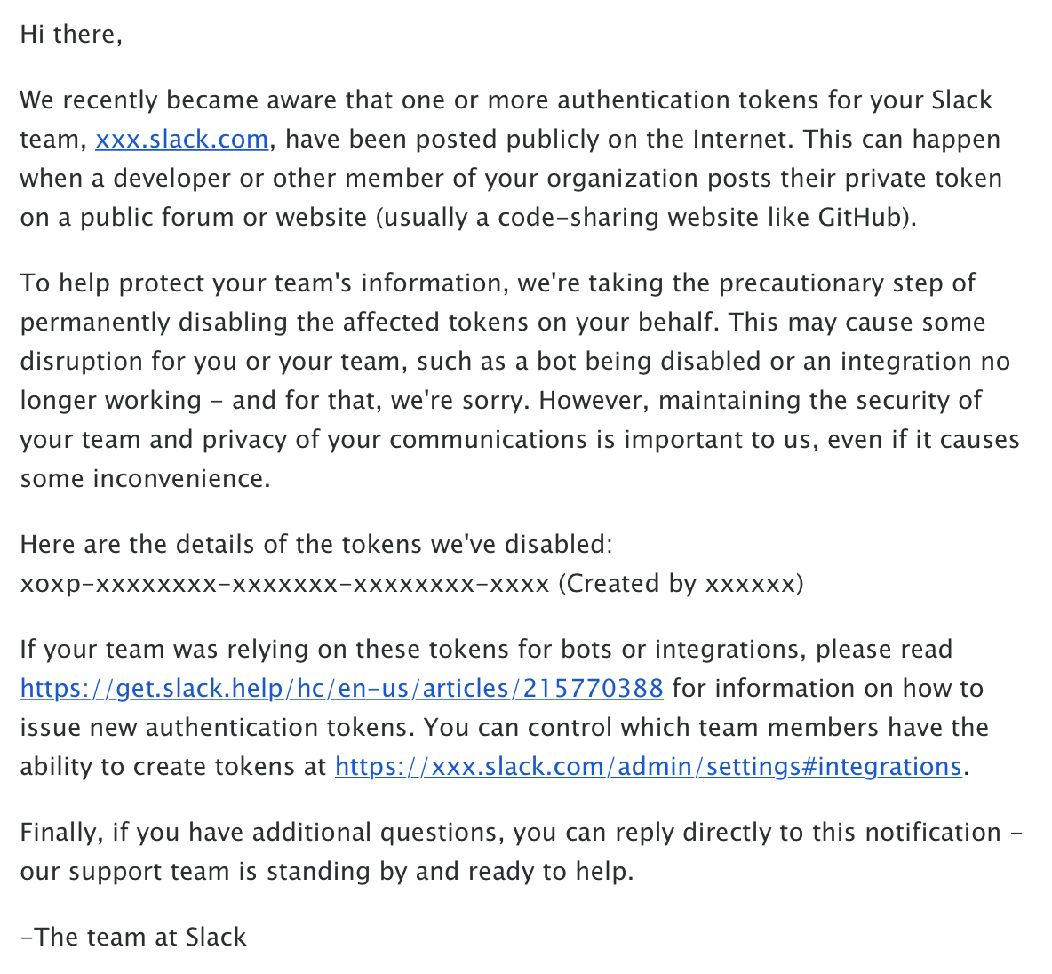 Slack's Security Email