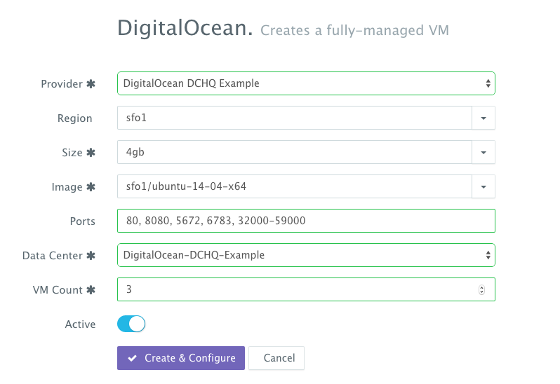 DigitalOcean Droplet Provisioning on DCHQ