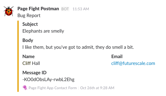 A nicely formatted Slack message