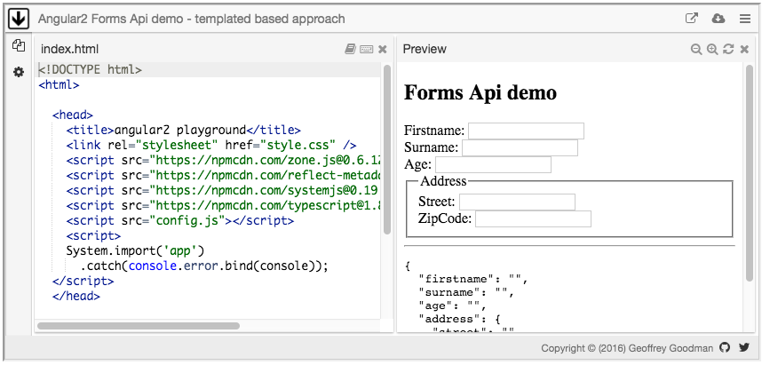Angular2 Forms Api demo - templated based approach
